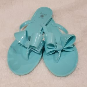 Tiffany Blue jelly bow sandals